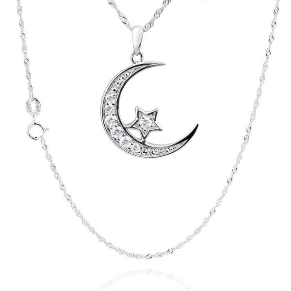 Sterling Silver Cubic Zirconia Crescent Moon Star Pendant Necklace (China)