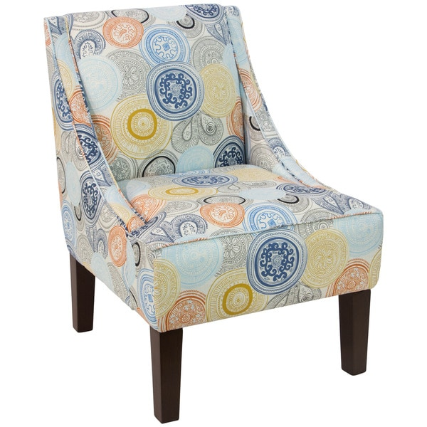 Skyline Furniture Swoop Arm Chair in Painterly Medallion Multi