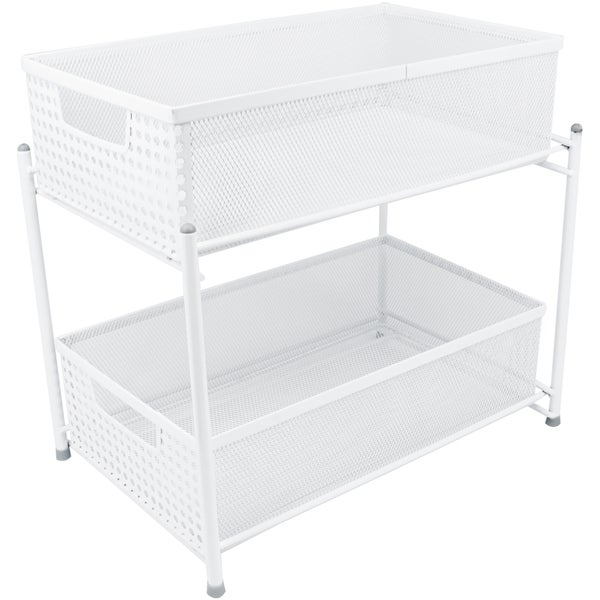 Sorbus 2 Teir Organizer Baskets with Mesh Sliding Drawers, White