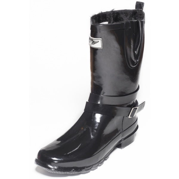 Women's Black Rubber/Faux-fur Lined 11-inch Mid-calf Rain Boots with Straps