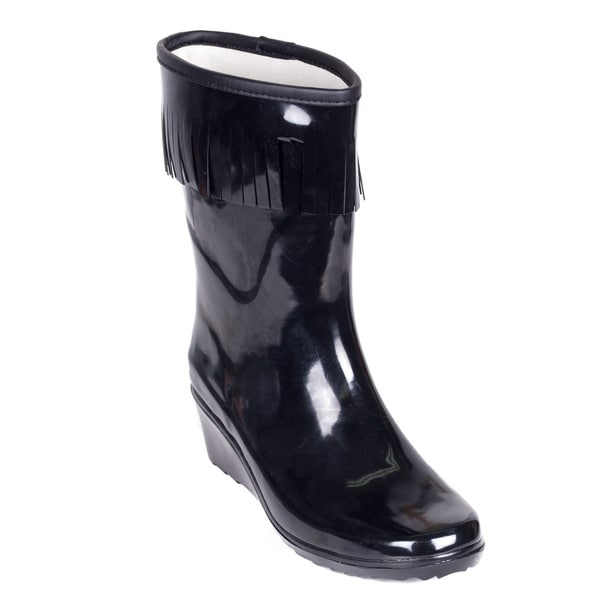 Women's Black Rubber Mid-calf Wedge-heel Tassel Rain Boots