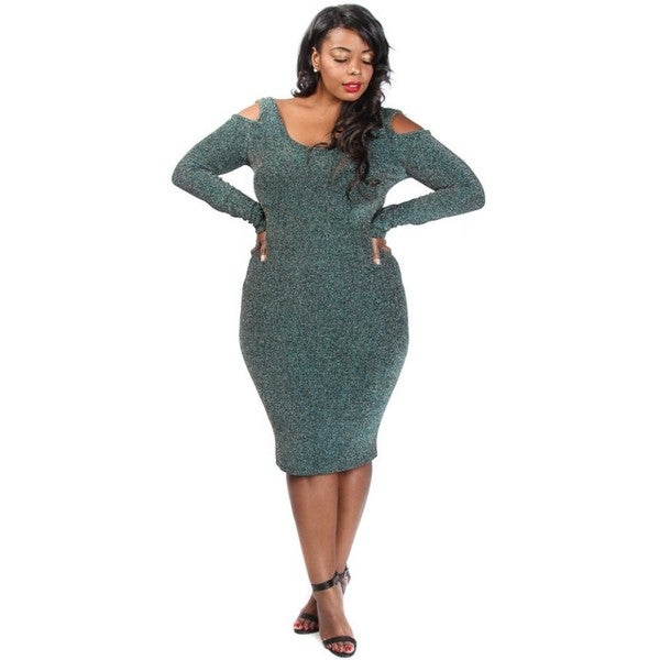Women's Emerald Green Nylon and Spandex Plus-size Long-sleeve Midi Dress