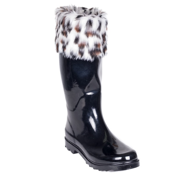 Women's Black Rubber Faux Fur Cuff Mid-Calf 14-inch Rain Boots