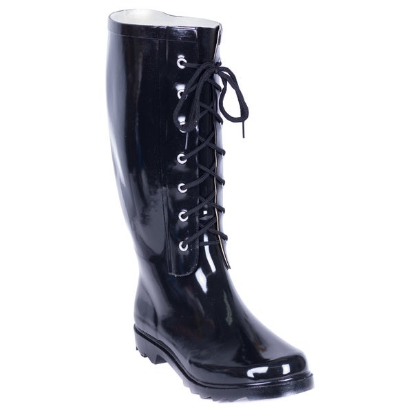 Forever Young Women's Black Rubber Lace-up Rain Boots