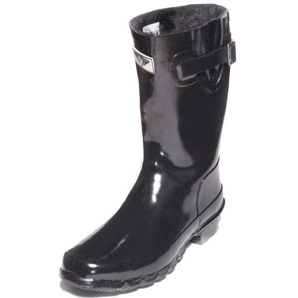 Women's Black Rubber Mid-Calf Basic Rain Boots
