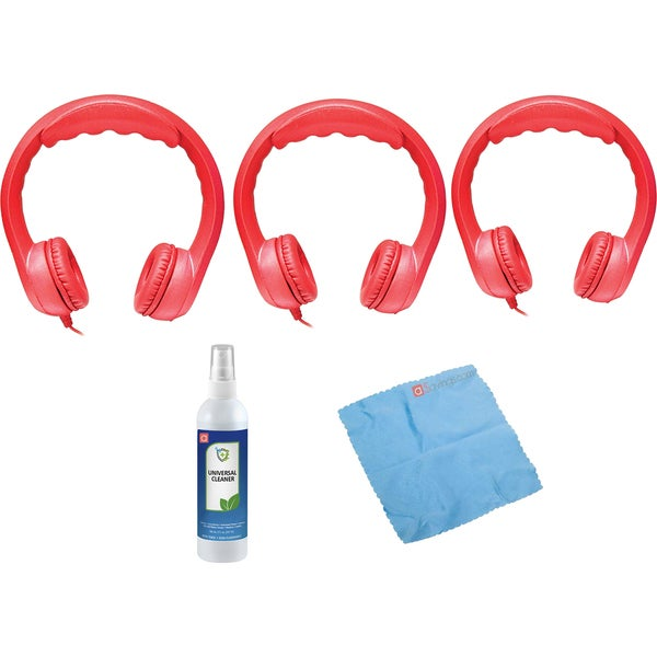 Hamilton Buhl Flex-Phones Foam Headphones (Red, 3 pack) & Accessory Bundle
