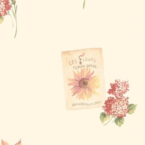 Sebastian Red/Yellow/Green/Cream 32.7-foot x 20.5-inch Flower Seeds Wallpaper 21572734