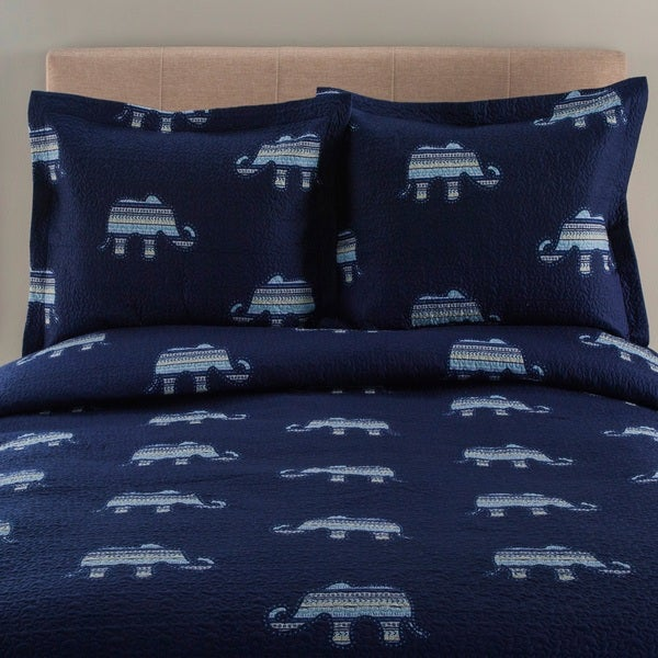 Whimsical Elephant Print 3-piece Quilt Set