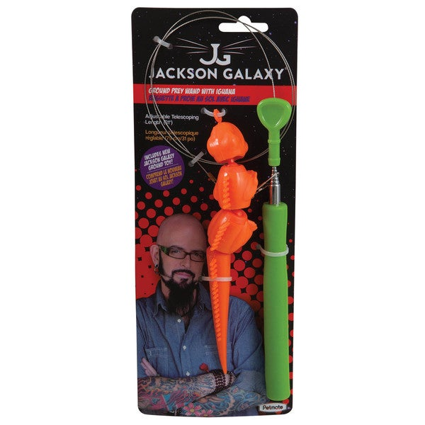 Jackson Galaxy Plastic Ground Wand with Iguana Cat Toy