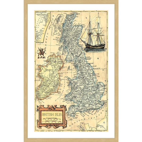Marmont Hill - 'British Isles Map' Framed Painting Print