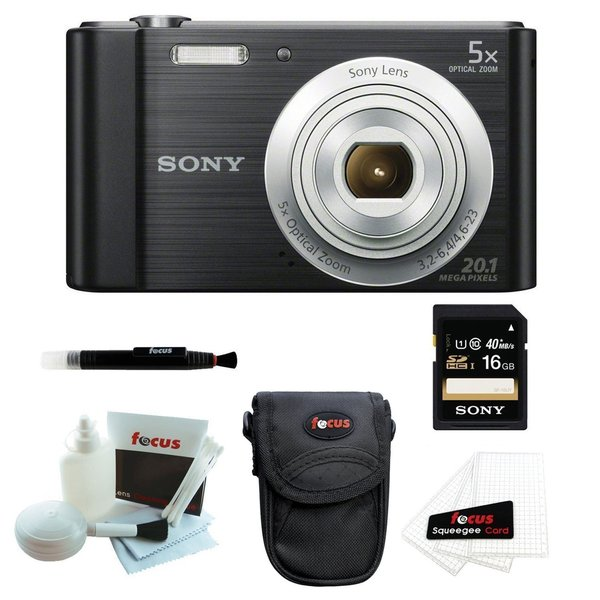 Sony Cyber-shot DSCW800/B Point and Shoot Digital Camera (Black) + Focus Camera Case + Sony 16GB Memory Card + Accessory Kit