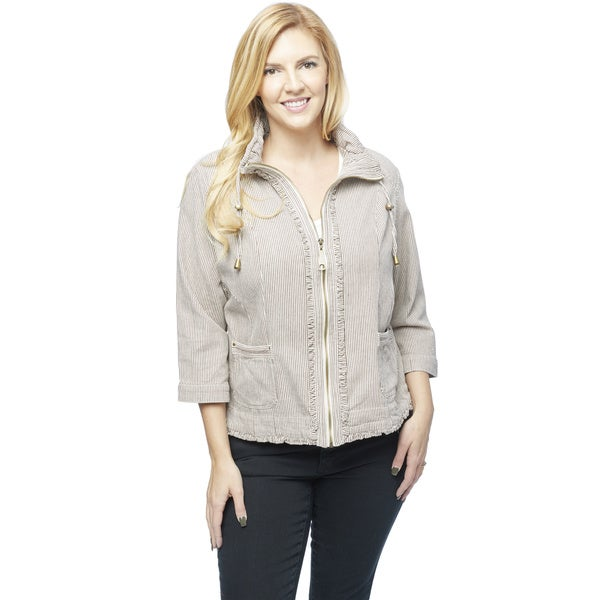 Women's Plus-size Railroad-stripe Ruffle Detail Jacket
