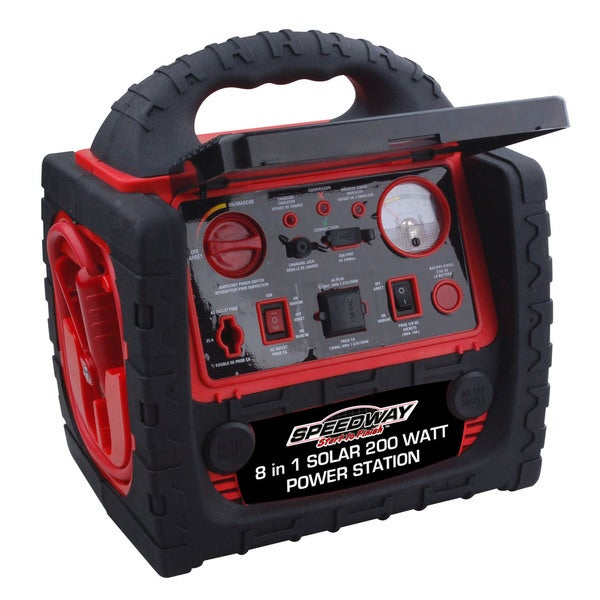 Speedway Red 8-in-1 Solar Panel Power Station With Detachable LED Torch and Emergency Flashing Lights