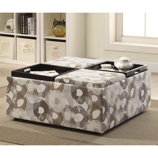Furniture of America Giovanna Contemporary Linen-like Patterned 4-Tray Storage Ottoman