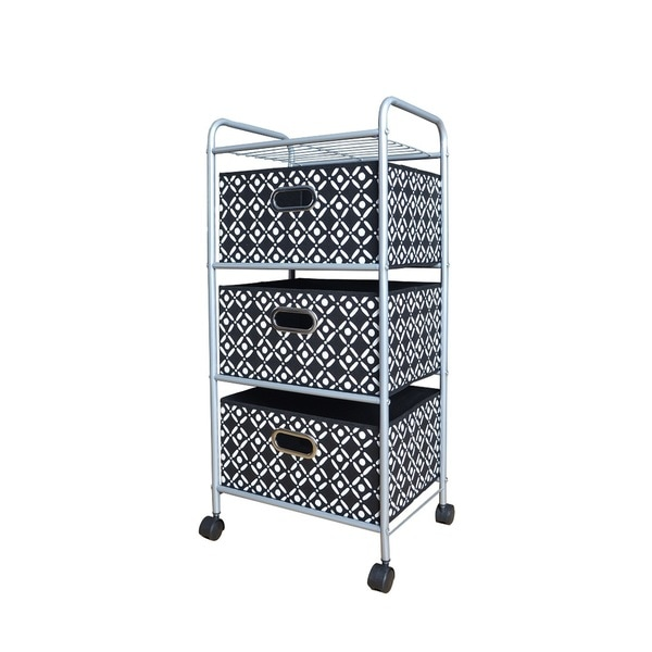 Black and White 3-drawer Trolley Cart