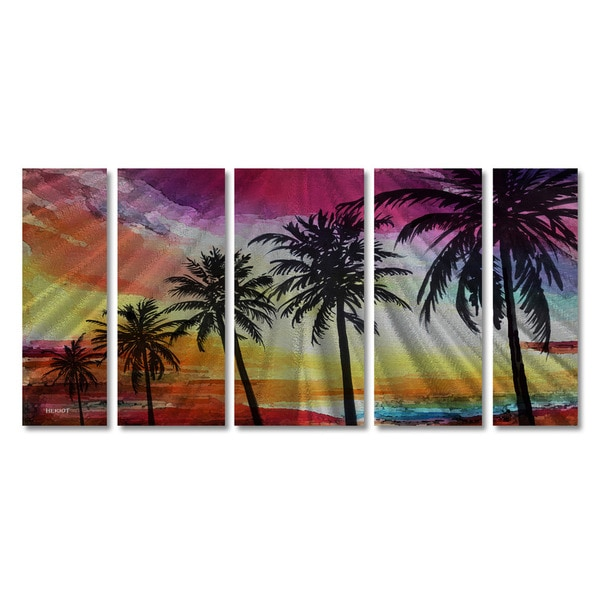 Steve Heriot 'Five Palms' Metal Wall Art