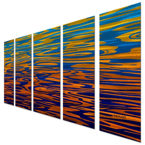Steve Heriot Orange Waves Metal Wall Art