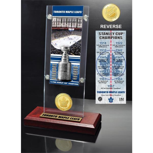 "Toronto Maple Leafs ""13-time Stanley Cup Champions"" Ticket & Bronze Coin Acrylic Desk Top 21580097"