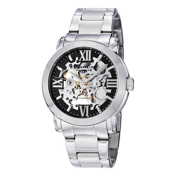 Stuhrling Original Men's Automatic Legacy Skeletonized Stainless Steel Link Bracelet Strap Watch
