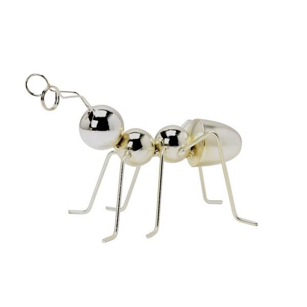 Silver Metal Ant Desktop Figurine with Clip Antennae