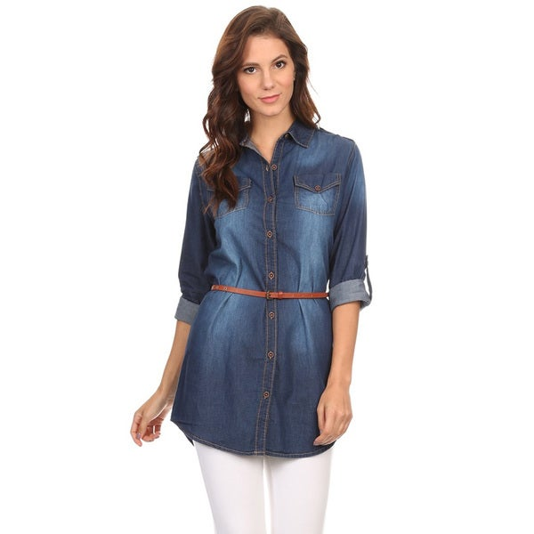 Women's Blue Denim Waist-tie Button-down Shirt