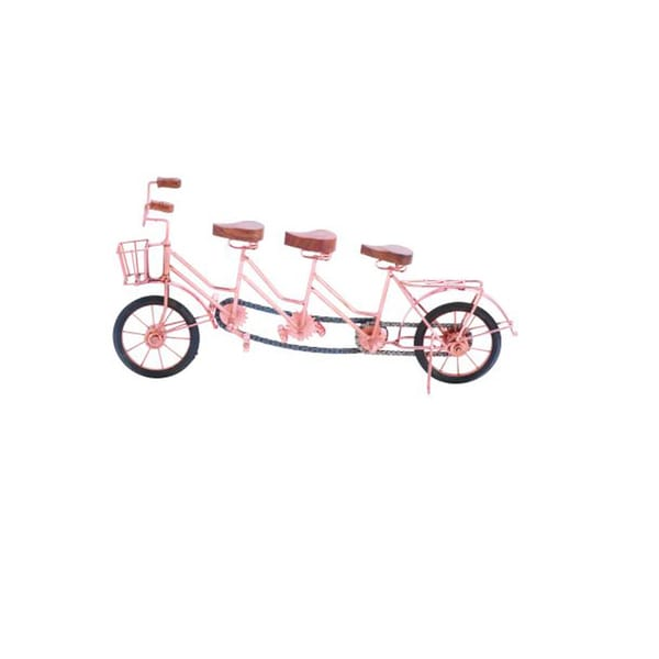 Benzara Pink Metal/Wood Cycle Decor