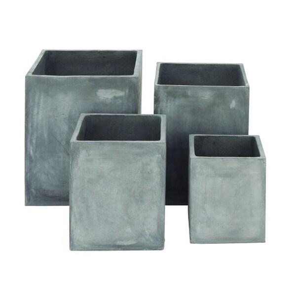 Unique Grey Fiber Clay Planters (Pack of 4)