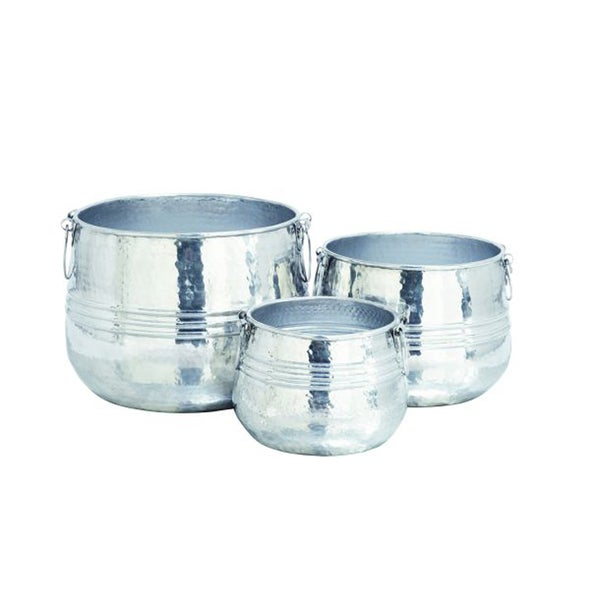 Benzara Pretty Aluminum Planters (Pack of 3)