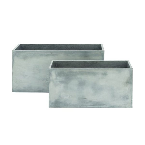 Benzara Simple Grey Fiber Clay Planter (Pack of 2)