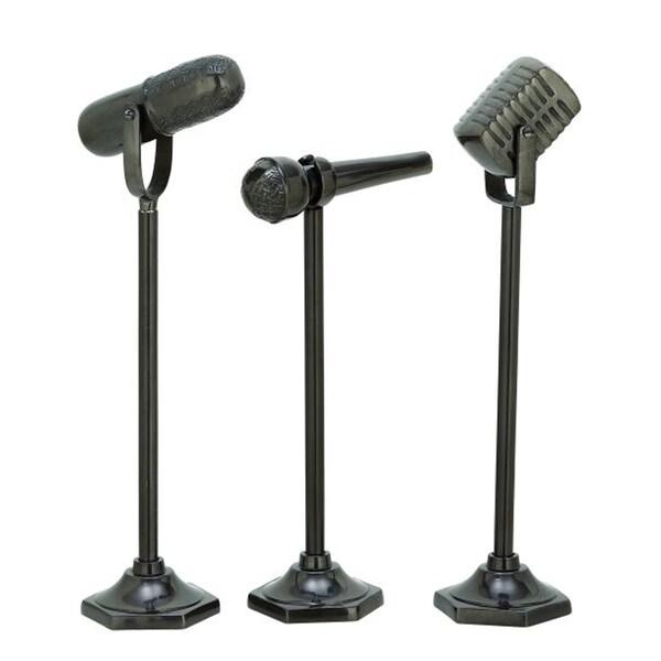 Benzara Aluminum Assorted Microphones (Pack of 3)