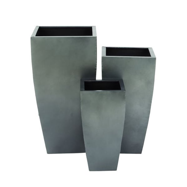 Benzara Plain Yet Attractive Grey Metal Planters (Pack of 3)