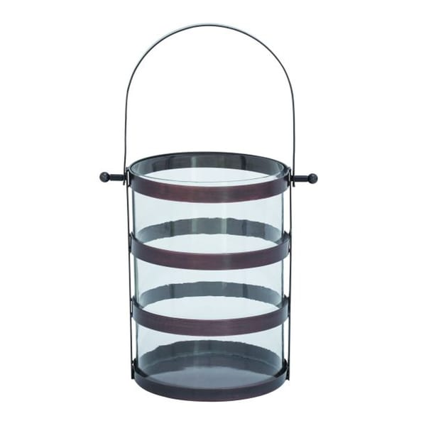 Benzara Bronze Metal and Glass Lantern