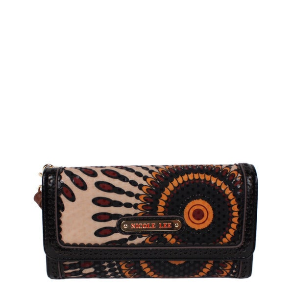 Nicole Lee Elin Brown/Black Faux Leather/Nylon Chic Wallet