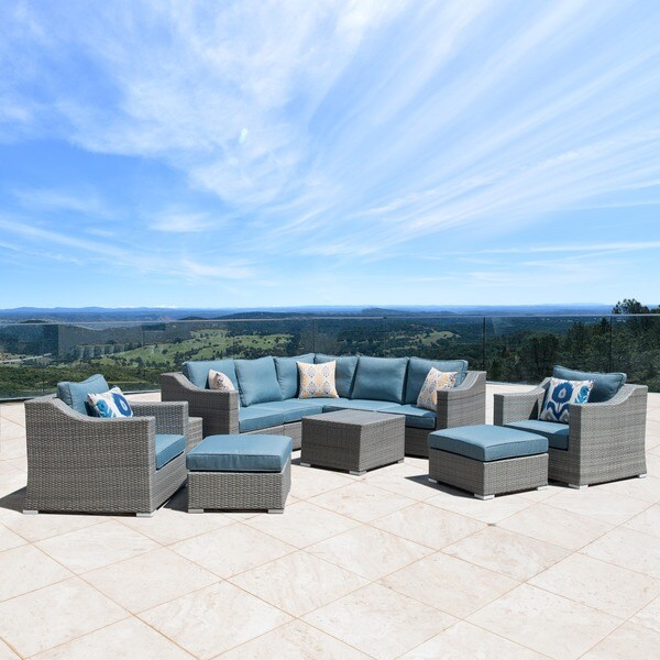 Corvus Martinka 11-piece Grey and Blue Hand-woven Resin Wicker Outdoor Sectional Furniture Set