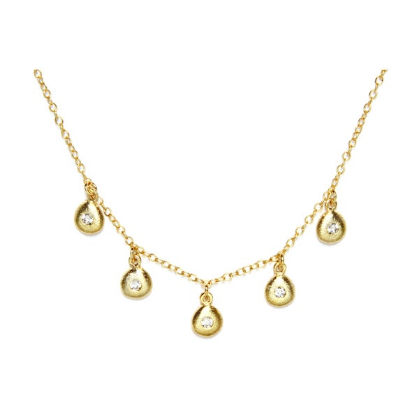 Goldplated Sterling Silver With Cubic Zirconia Station Drops Necklace