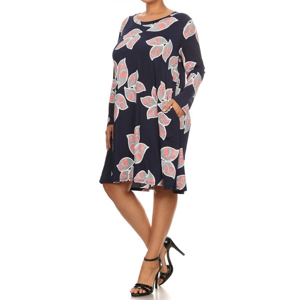 Women's Blue/Pink Polyester/Spandex Large Floral Print Plus-size Dress