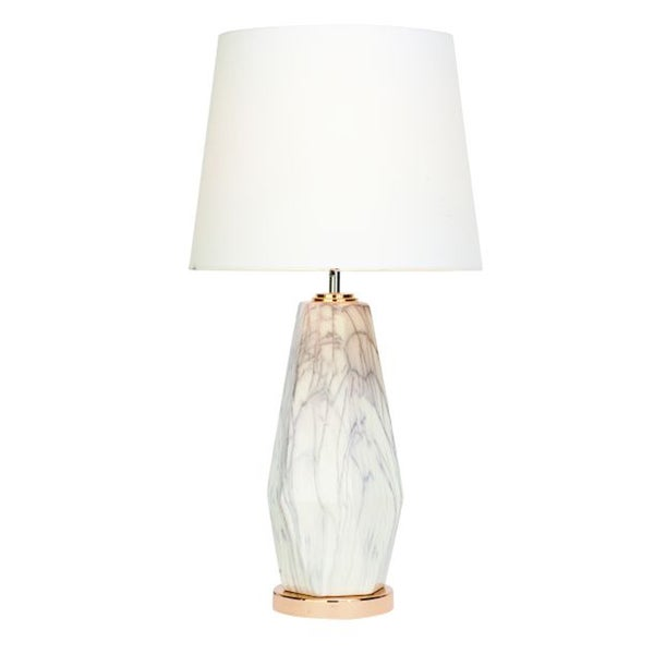 Benzara Remarkable Cracked Marble Gold Ceramic Table Lamp