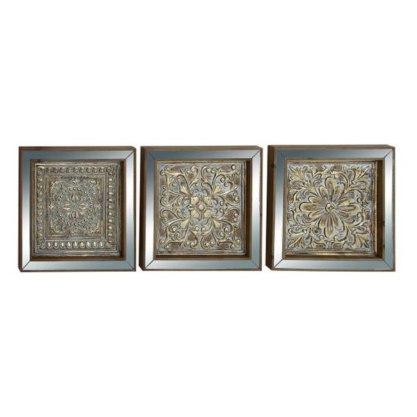 Benzara Metal Mirrored Wall Plaques (Pack of 3)
