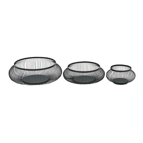 Benzara Grey Iron Metal Baskets (Pack of 3)
