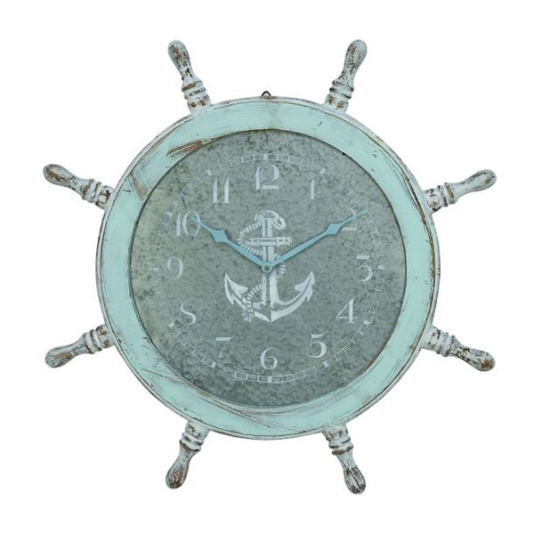Benzara Chic Sky Blue, Grey, and White Wood Wall Clock