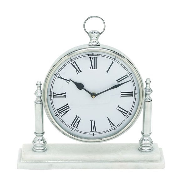 Benzara Marble/Aluminum Table Clock (21603970 54264) Photo Awesome Design