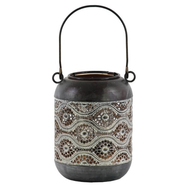 Urban Trends Collection Black Metal/Pierced Metal Design Round Lantern