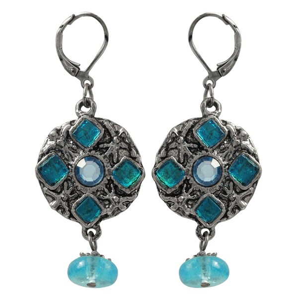 Luxiro Pewter and Lucite Bead Medallion Dangle Earrings 21604558