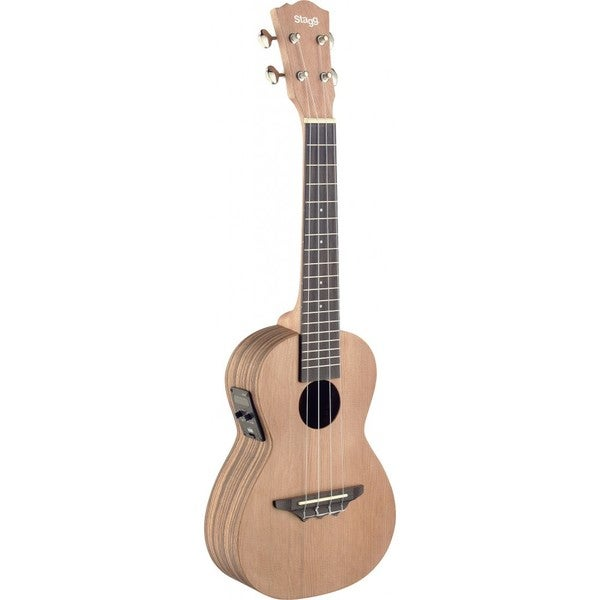 Stagg UTX-ZEB-SE Acoustic-electric Zebrawood, Rosewood, Mahogany Wood, and Nickel Tenor Ukulele With Built-in Tuner