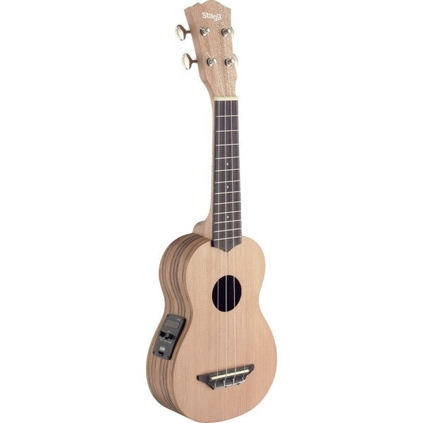 Stagg Zebrawood Acoustic/ Electric Soprano Built-in Tuner Ukulele