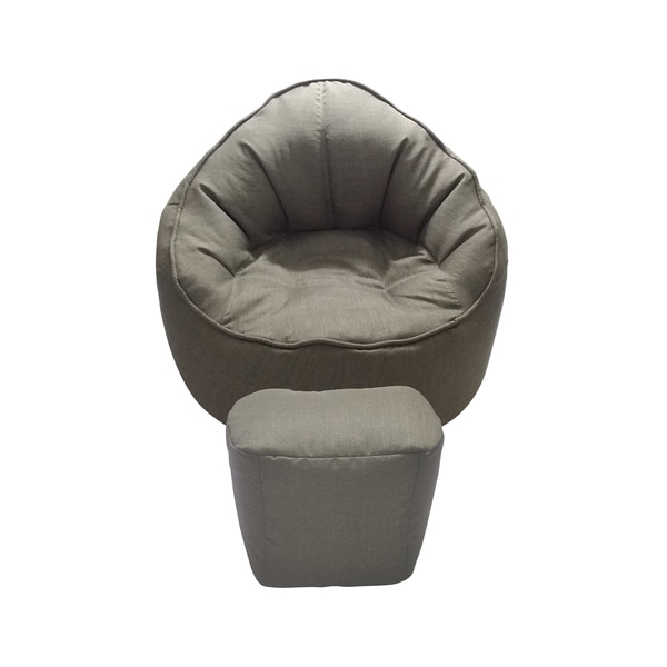 Brown Giant Pod Chair and Ottoman Set