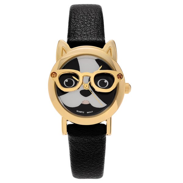 Geneva Platinum Goldtone Dog Face Dial Faux Leather Strap Watch