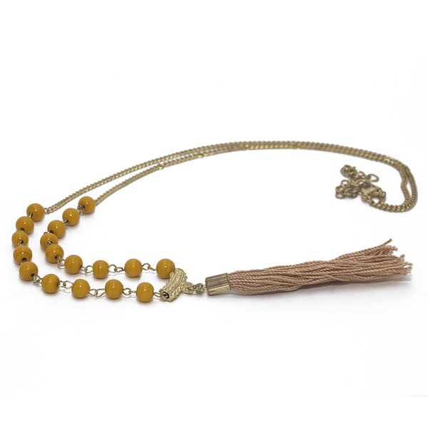 Handmade Brass Bead & Tassel Necklace (india)
