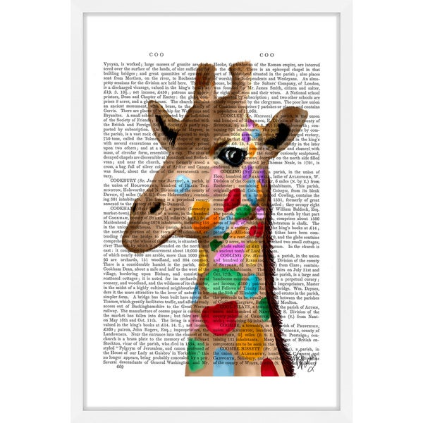 Marmont Hill - 'Multicoloured Giraffe' Framed Painting Print