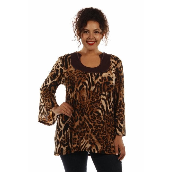 Lovely Leopard Print Plus Size Tunic Top
